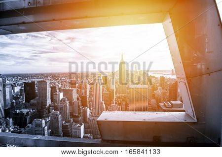 New York city in black and white with sunset