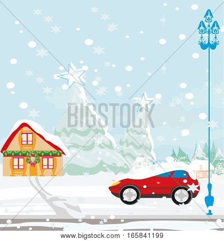 Car Stuck In The Snow , vector illustration