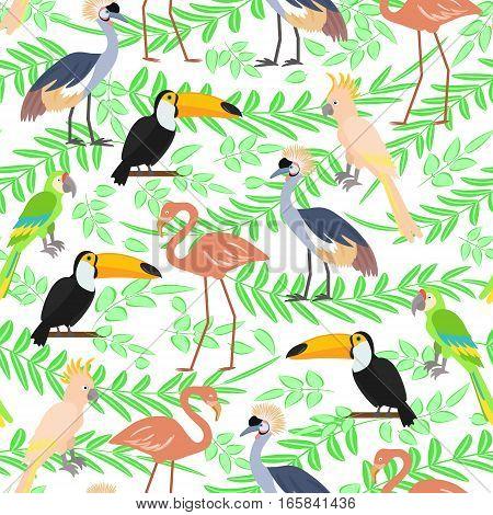 Tropical birds seamless pattern background. Vector illustration