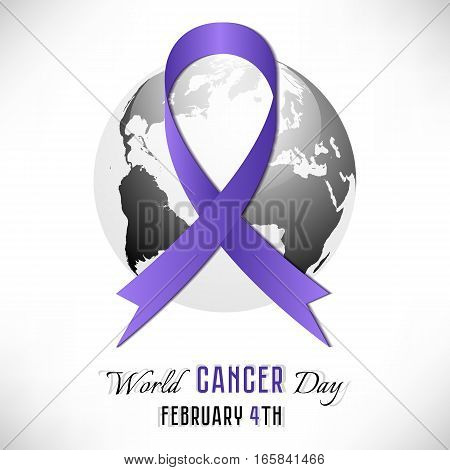 Lavender cancer ribbon with Earth globe. World Cancer day in February 4 on white background. Vector illustration