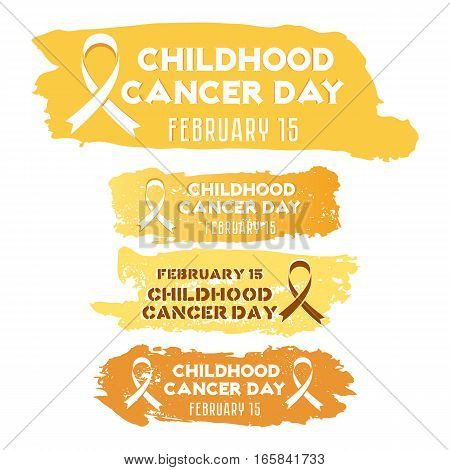 Set of grunge stickers with golden cancer ribbon in different yellow tints isolated on white. Childhood Cancer day in February 15. Vector illustration