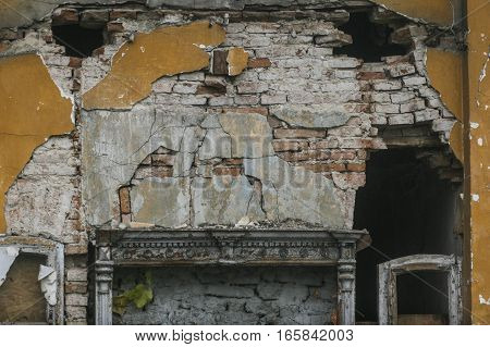 Bucharest Romania December 5 2009: An old degraded wall of a house in the historical part of Bucharest.