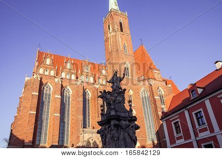 Medieval, Gothic church towers in Wroclaw, Poland