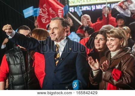 Bucharest Romania December 6 2009: The former Foreign Minister Mircea Geoana reacts after the first exit polls of presidential elections in Romania.