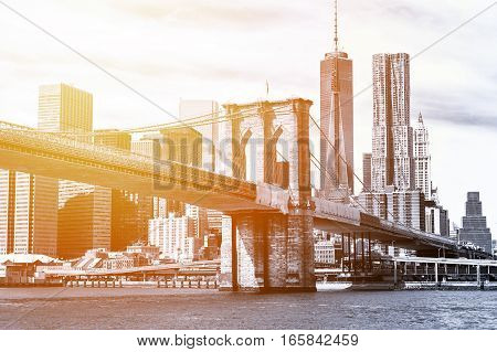 The Manhattan skyline and Brooklyn Bridge seen from Brooklyn Bridge Park in Brooklyn New York.