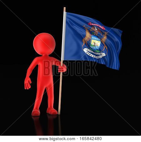3D Illustration. Man and flag of the US state of Michigan. Image with clipping path