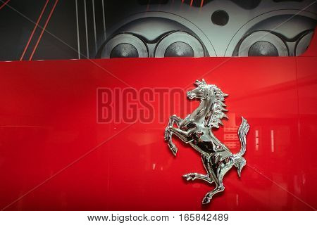 Bucharest Romania December 5 2009: The Ferrari logo is seen at opening of the Ferrari showroom in Bucharest.