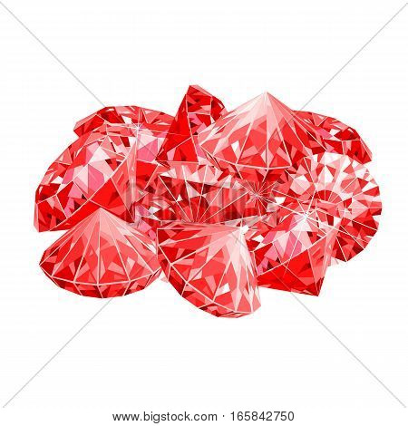 Isolated handful of red rubies. vector illustration. Game desing.