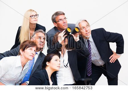 business team looking in the same direction, focusing the same common goal.