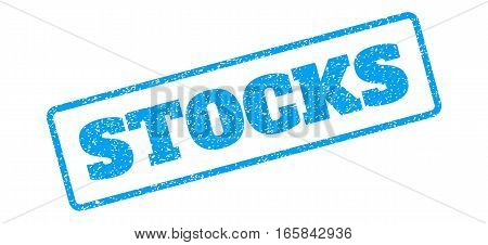Blue rubber seal stamp with Stocks text. Vector message inside rounded rectangular banner. Grunge design and scratched texture for watermark labels. Inclined sign on a white background.