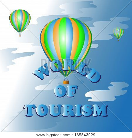 Hot air balloon ride.The world of tourism. Vector image. Symbol, icon to cartoon, computer games, book illustrations, screen savers website or blog.