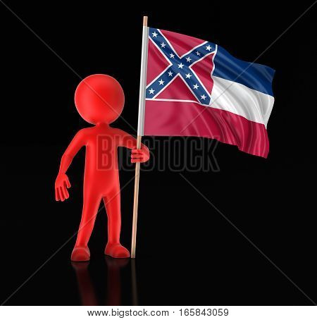 3D Illustration. Man and flag of the US state of Mississippi. Image with clipping path