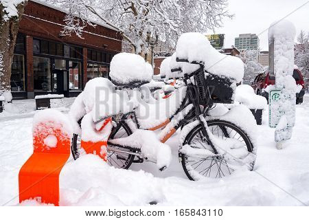 Biketown Stations And Snow