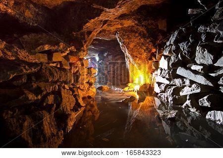 Old abandoned flooded limestone mine Gurievsky in Byakovo, Tula Region