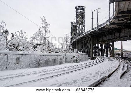 Train Tracks And Snow