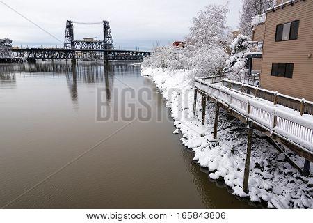 Steel Bridge And Snow