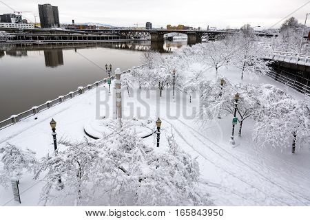 Portland Waterfront Under Snow