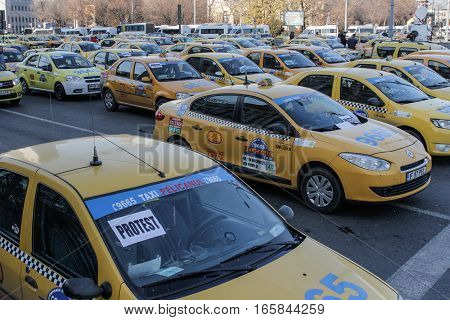 Bucharest Romania December 17 2015: Private transporters are protesting in front of the Romanian Government building in Bucharest for increase of taxes.