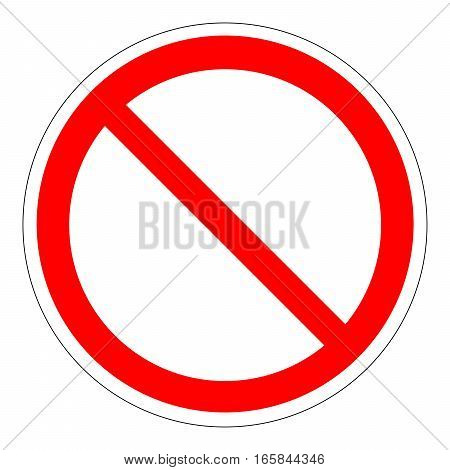 Prohibition Sign Template isolated on white background