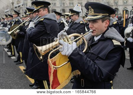 BUCHAREST ROMANIA - November 29 2015: Military orchestra is rehearsing for the National Day of Romania military parade in Bucharest. More than 3000 soldiers and personnel from security agencies take part in the massive parades on National Day of Romania.