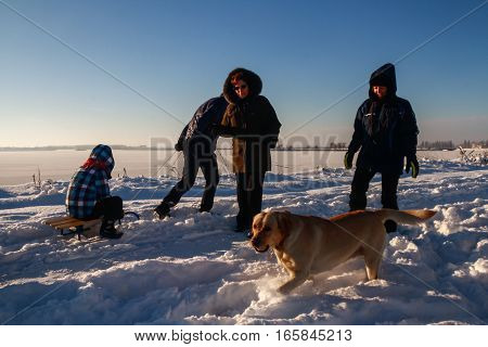 Bucharest Romania January 1 2015: People play with a dog on the edge of a lake in Bucharest during a cold winter day.