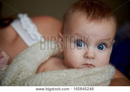 newborn baby with big eyes on a plain background.