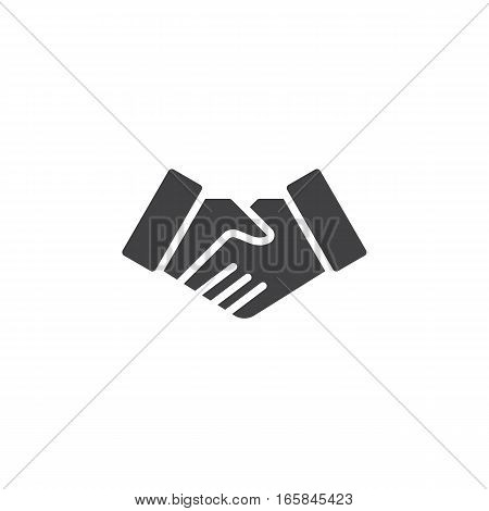 Handshake deal icon vector filled flat sign solid pictogram isolated on white. Business partnership symbol logo illustration