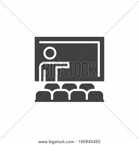 Training seminar icon vector filled flat sign solid pictogram isolated on white. Classroom symbol logo illustration