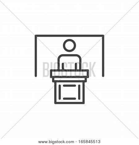 Person at podium line icon outline vector sign linear pictogram isolated on white. Speaker conference symbol logo illustration