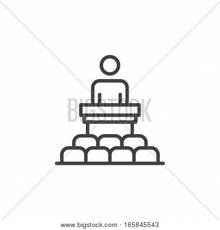 Speaker conference line icon outline vector sign linear pictogram isolated on white. Podium symbol logo illustration