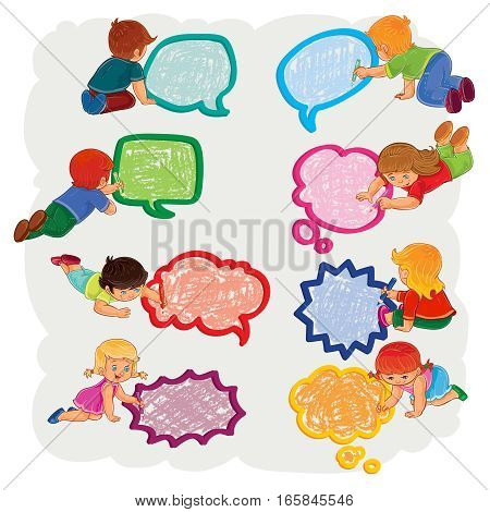 Set of vector icons of small boys and girls sitting on the floor and draw a speech bubbles, top view