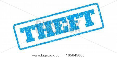 Blue rubber seal stamp with Theft text. Vector caption inside rounded rectangular frame. Grunge design and scratched texture for watermark labels. Inclined emblem on a white background.