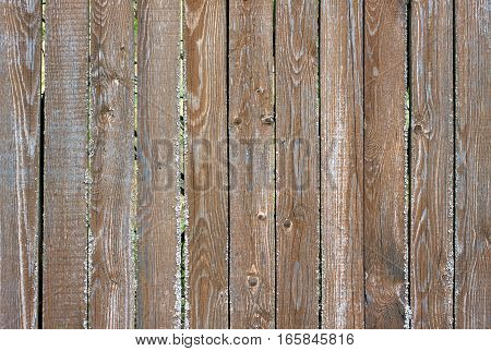 Fence from old wooden vertical planks as background horizontal view closeup