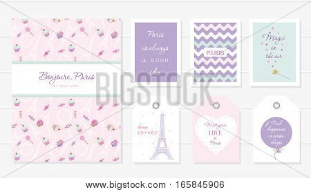 Love in Paris design. Notebook cards and tags cute templates set. Honey moon Valentine s french bakery design. Included seamless pattern with Eiffel tower and sweets - cupcakes candies. Vector.