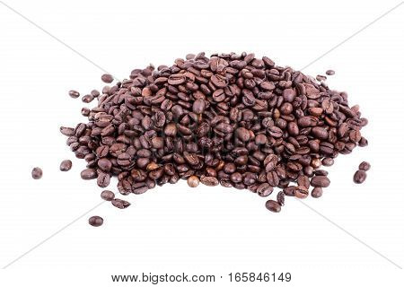 Heap Of Fresh Roasted Coffee Beans On White Background