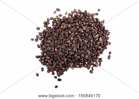 Top View On A Heap Of Fresh Roasted Coffee Beans On A White Background