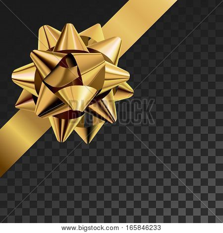 Gift bow realistic vector illustration on transparency grid. Golden ribbon present box decoration. Superior for birthday, christmas celebration design