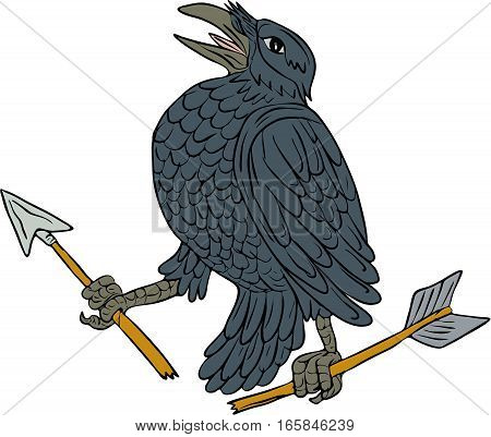 Drawing sketch style illustration of a crow looking up clutching a broken arrow viewed from the side set on isolated white background.