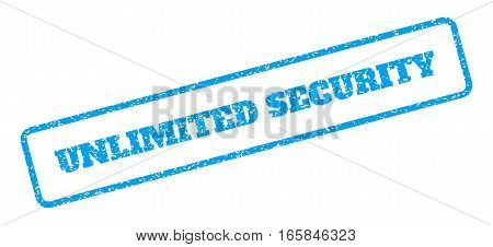 Blue rubber seal stamp with Unlimited Security text. Vector caption inside rounded rectangular frame. Grunge design and scratched texture for watermark labels. Inclined blue sticker on a white background.