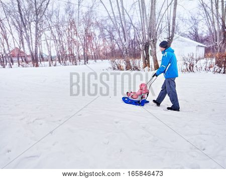 The child walks in the winter on the sledge. Walk with parents.