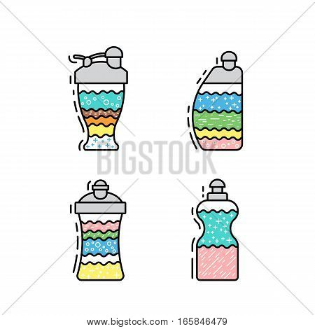 Set of protein shakes and fitness sports nutrition for weight loss and muscle mass. Drawn in a flat style and outline. Set of shakers for sports nutrition. The composition, the recipe protein shake