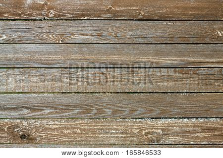 Fence from old wooden horizontal planks as background closeup