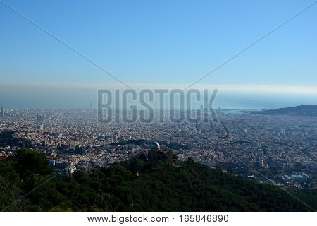Aerial view of Fabra observatory and Barcelona city in Spain