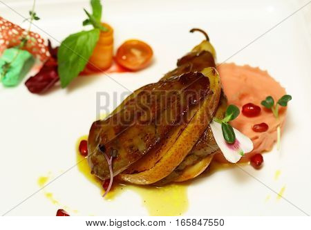Grilled Meat Fillet On Pear