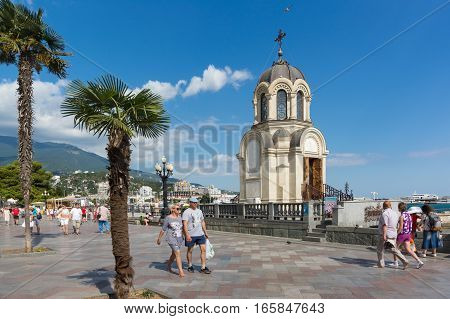 YALTA CRIMEA RUSSIA - SEPTEMBER 12.2016: Chapel on the seafront of Yalta