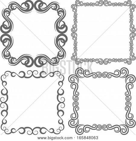 set of vintage frames - clip art illustration