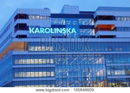 STOCKHOLM - JAN 15 2017: The new hospital Karolinska unversitetssjukhuset in the morning. January 15 2017 in Stockholm Sweden