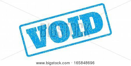 Blue rubber seal stamp with Void text. Vector tag inside rounded rectangular shape. Grunge design and unclean texture for watermark labels. Inclined emblem on a white background.