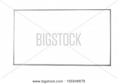Front view of modern blank high definition LCD flat screen TV monitor isolated on white background