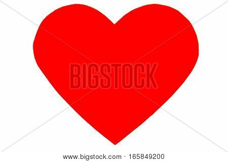 Red Heart In Trendy Flat Style Isolated